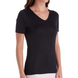 Cuddl Duds 8317535 Softwear Lace Edge Short Sleeve V-Neck (Black XL) found on Bargain Bro Philippines from herroom.com for $21.95
