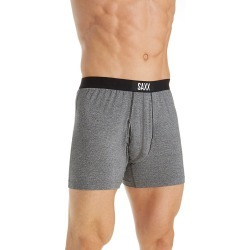 Saxx Underwear SXBB30F Ultra Moisture Wicking Fly-Front Boxer (Salt and Pepper M)