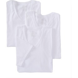 Fruit Of The Loom 2626VX Stay Tucked Extended Size V-Neck T-Shirt - 3 Pack (White 3XL)