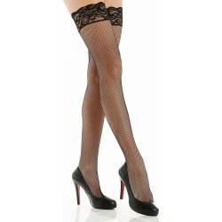 Shirley of Hollywood 90013 Fishnet Back Seam Stay Up Thigh Stockings (Black O/S)