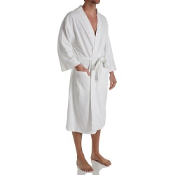 Hanes 5071T Tall Man Solid Waffle Knit Spa Robe (White 6XLT/7XLT)