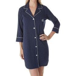 Lauren Ralph Lauren Sleepwear 813702 Heritage Knits 3 4 Sleeve Classic Sleepshirt Navy Dot S