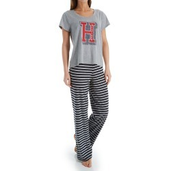 Tommy Hilfiger R85S515 Short Sleeve Tee & Logo Pant PJ Set (HGreyNavyFeederStripe M) found on Bargain Bro Philippines from herroom.com for $64.00