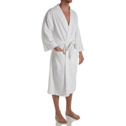 Hanes 5071 Solid Waffle Knit Spa Robe (White O/S)
