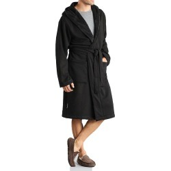 UGG UA4099M Brunswick Double Knit Hooded Fleece Robe (Black M/L) found on Bargain Bro India from hisroom.com for $145.00