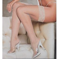 Shirley of Hollywood 90421 All Over Sparkle Fishnet Lace Top Stay Up Stocking (Nude O/S)
