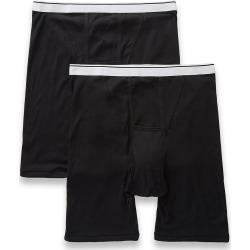 Jockey 1189 Big Man Pouch Midway Boxer Briefs - 2 Pack (Black 4XL)