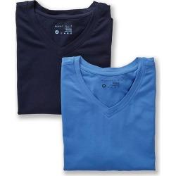 Perry Ellis 210002 Conformity Cotton Stretch V-Neck T Shirts - 2 Pack (Blue Assort S)
