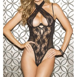 Shirley of Hollywood 25573 Lace Open Back Teddy (Black M)
