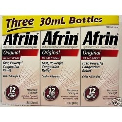 Afrin Original Maximum Strength Nasal Spray 90ml (3 X 30ml), Oxymetazoline Hcl