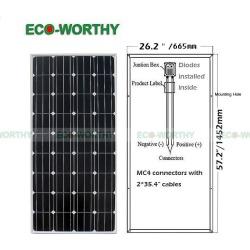12v/24v 4pcs 150w 160w Mono Solar Panel For Home Busimness School Industry Car