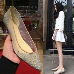 Women's Rhinestone Pointed Toe Flat Causal Shoes Mesh Pumps Wedding Sandals R416
