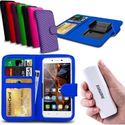 For Blu Studio 5.0 Lte - Clip On Pu Leather Wallet Case & Powerbank