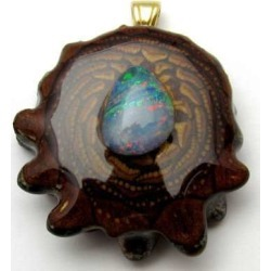 "Third Eye Pinecones - 1.5"" Australian Blue Opal Pendant - Handcrafted Pinecone"