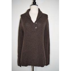 Ap V-neck Button Sweater Stretch Brown Women's Size Medium
