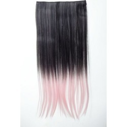 Extension Hair Extension 5 Clip-in Smooth Bi-coloured Ombre Black Pink 23 5/8in