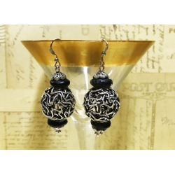 Wire Ball Earrings Wire Yarn Ball Earrings Antiqued Silver Finish Dangle Earrings Silver and Black Earrings Elegant Jewelry R99 found on Bargain Bro from  for $12.5