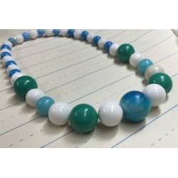 Chunky Blue and Green Bead Mod Necklace - Bubblegum Necklace - Photo Prop - Girls Photo Prop - AnniPalooza R77 found on Bargain Bro from  for $12.5
