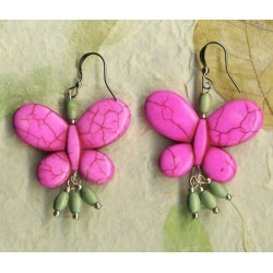 Butterfly Earrings - Pink Howlite Turquoise Earrings with Vintage Bead Dangles - Vintage Wooden Beads- Dangle Beads - Hippie Earrings - B38 Pink found on Bargain Bro from  for $13
