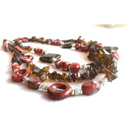 Extra Long Wrap Necklace, red jasper necklace natural stone necklace Brown necklace ceramic bead beaded necklace multi strand necklace boho found on Bargain Bro from  for $