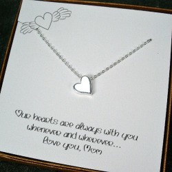 Meaningful Mom Jewelry Gift for Birthday, Mother's Day, Wedding, Mothers Jewelry, Long Distance Mom, Heart Necklace, Mom Message Card found on Bargain Bro from  for $29