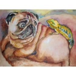 Pug Art Painting Watercolor Painting Pop Art Painting Giclee Print of Watercolor Dog Art Gift for Pet Lovers Pugs Pug Lovers Pet Painting found on Bargain Bro from  for $30.53