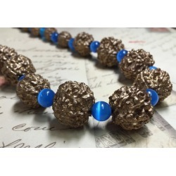 Chunky Blue and Gold Necklace - Resin Beads and Blue Cats Eye Beaded Necklace - BoHo Stretch Necklace - Annipalooza R80 found on Bargain Bro from  for $14.5
