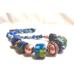 Blue African Trade Bead Necklace, found on Bargain Bro from  for $44.99