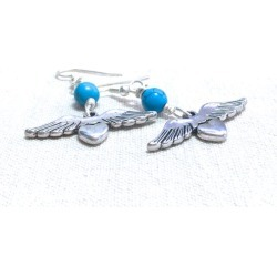 Turquoise Heart and Wings Earrings, found on Bargain Bro from  for $10.99