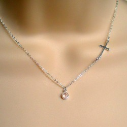 Sideways Cross Necklace, Sterling Silver Cross Necklace, Side Cross, Small Cross, Tiny Cross, Dainty, Gemstone, Birthstone, Everyday Jewelry found on Bargain Bro from  for $30
