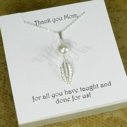 Mother Gift, Wedding Gift for Mom, Mom Necklace, Mom Birthday Gift, Mother in Law Gift, Mother's Day Gift, Pearl Leaf Necklace Silver found on Bargain Bro from  for $31