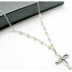 Pearl Cross Necklace | Pearl Necklace for Women | Bride Pearl Necklace | Christian Gifts for Women | Swarovski Pearl, White, Cream, Ivory found on Bargain Bro from  for $63