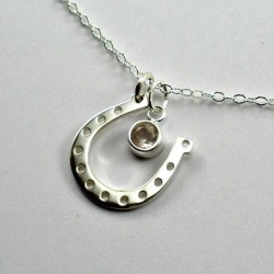 Horseshoe Necklace, Horseshoe Necklace for Women, Horseshoe Necklace Girls, Horse Lover Gift, Western Jewelry, Birthstone, Gemstone, Silver found on Bargain Bro from  for $34