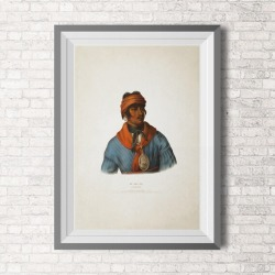 Lithograph - Native Art - Native Americans - Creek chief - Wall Art - Muscogee - Vintage Illustration - Poster - Art to Print - Wall found on Bargain Bro from  for $24