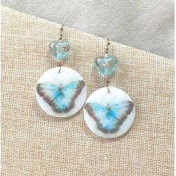 Watercolor Blue Butterfly Earrings, lampwork glass heart beads gold painted dangles long earrings large drop Spring jewelry moth garden found on Bargain Bro from  for $