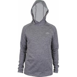 Aftco Hexatron Performance Long Sleeve Hoodie - Charcoal Heather - M