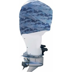 Outer Envy Outboard Motor Cover - Blue Camo - Mercury Optimax