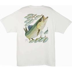 Aftco MTH1220 Guy Harvey Stripe Bass Mens Tee Shirt - Medium