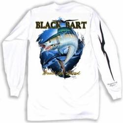 Black Bart Wahoo Long Sleeve T-Shirts White - Large
