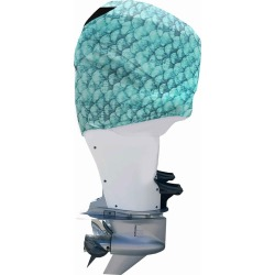 Outer Envy Outboard Motor Cover - Blue Fish Scales - Mercury Optimax