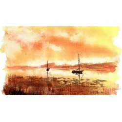 Paint my 3 sunsets FREE style Watercolor painting beginners.