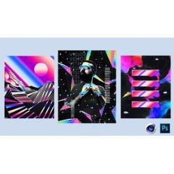 Photoshop and Cinema 4D - Design 3 Abstract Posters