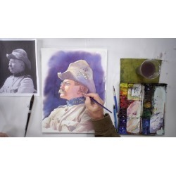 Painting a Color Portrait From a Black & White Photo