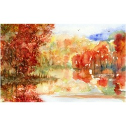 Paint my FREE style watercolor painting Fall impression.