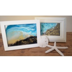 Alcohol Ink Art & Resin Glass Frame Abstract Wave Painting