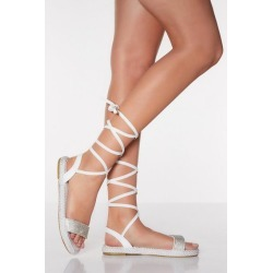 Quiz White Diamante Ankle Tie Flatform Sandals found on Bargain Bro UK from Quiz Clothing