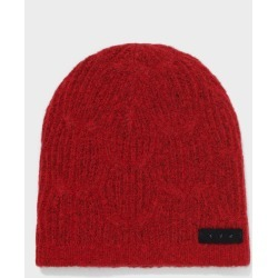 John Varvatos Cable Beanie In Brushed Boucle Pop Red Size: one size fits all