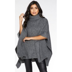Quiz Grey Polo Neck Knit Poncho found on Bargain Bro UK from Quiz Clothing