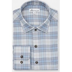 Peter Millar Men's Leavell Performance Check Flannel Woven Long Sleeve Shirt - Gray/Blue XL found on Bargain Bro India from golftown.com for $126.46