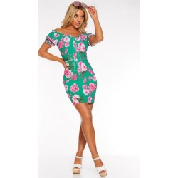 Quiz Green and Pink Floral Bardot Puff Sleeve Dress found on Bargain Bro UK from Quiz Clothing